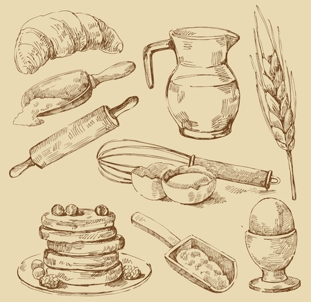 croissant: food set Illustration
