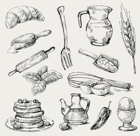 rolling pin: food set Illustration