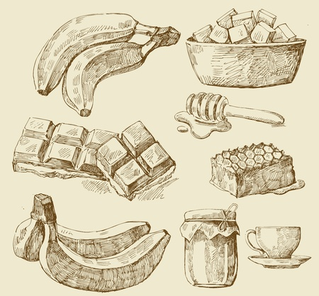 kitchen illustration: food set Illustration
