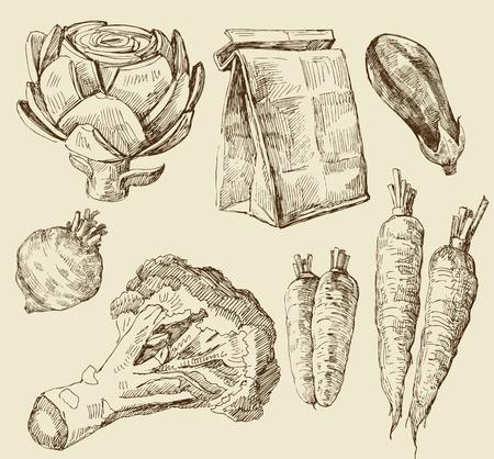 brocoli: alimentos serie Vectores