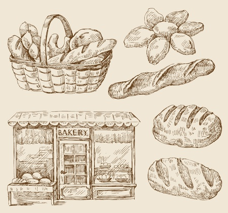 croissants: bread -  hand drawn
