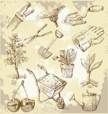 herramientas de jardinería Ilustración de vector