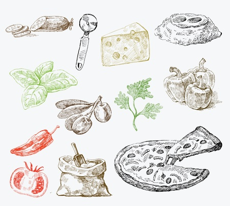 kaas: pizza achtergrond Stock Illustratie