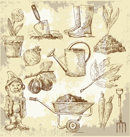 sprinkling: gardening tools Illustration