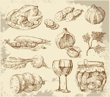 Hand-drawn set vegetables Vector