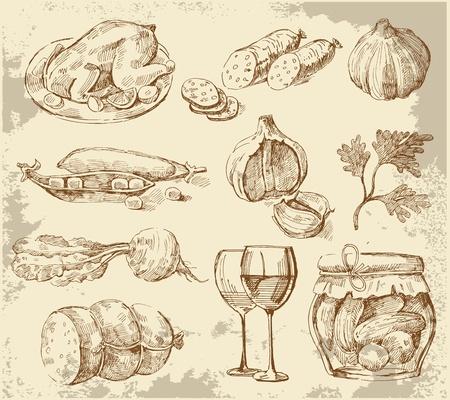 green peas: Hand-drawn set vegetables