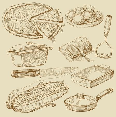 viande couteau: doodles cuisson