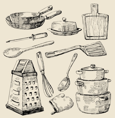 cucina antica: cucina doodles Vettoriali