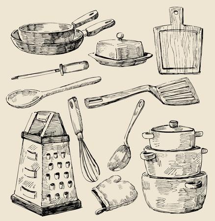 kitchen tools: koken doodles Stock Illustratie
