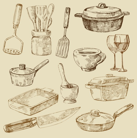 kitchen tools: cooking doodles Illustration