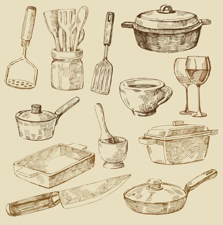 cocina antigua: garabatos de cocina Vectores