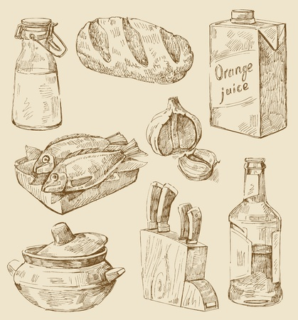 old kitchen: hand drawn kitchen set