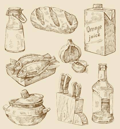 garlic bread: hand drawn kitchen set