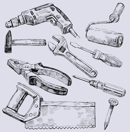 Werken gereedschap icon set
