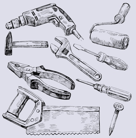 Working tools icon set Vector