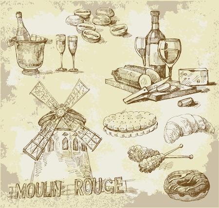 french food: france-original hand drawn set Illustration