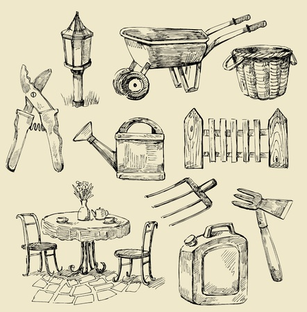 agricultural tools: gardening background