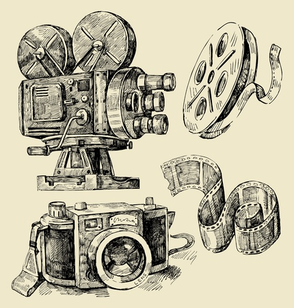 movie camera: cameras hand drawn