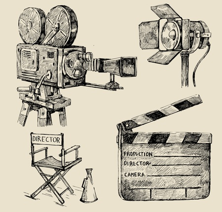 film set: movie camera hand drawn Illustration