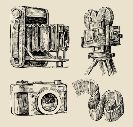 photo camera: movie camera hand drawn Illustration
