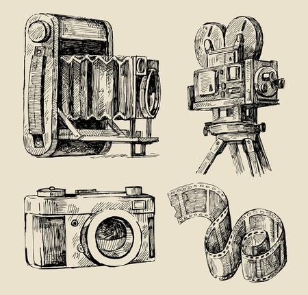 vintage camera: movie camera hand drawn Illustration