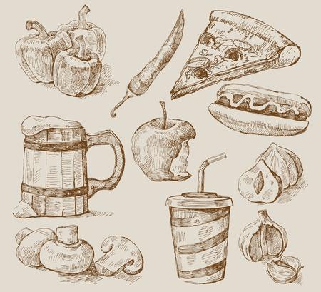 sketchy illustration: kitchen set