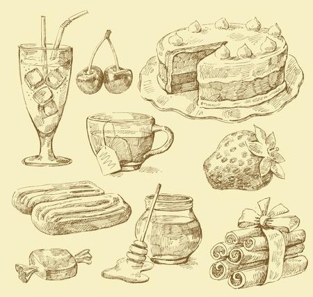 galletas: papel dulce Vectores
