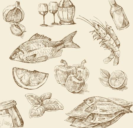 italian sea: food set Illustration