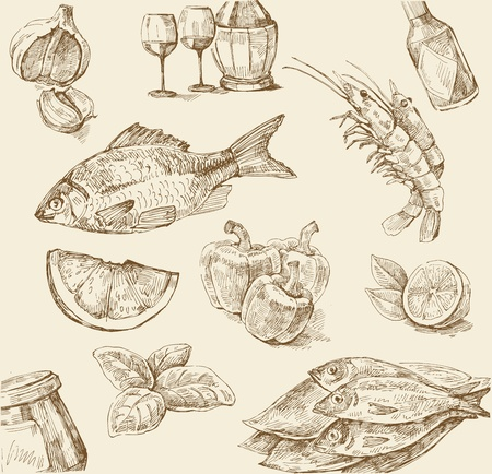 prawns: food set Illustration