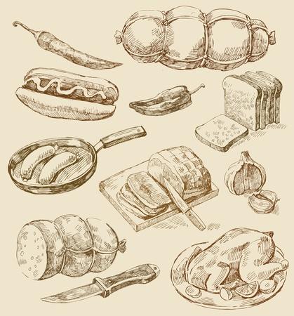 ham: keuken set Stock Illustratie