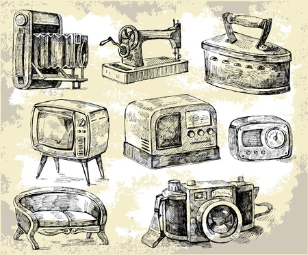 sewing machines: old times-original hand drawn set