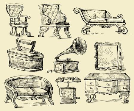 butacas: viejos tiempos-original dibujado a mano conjunto