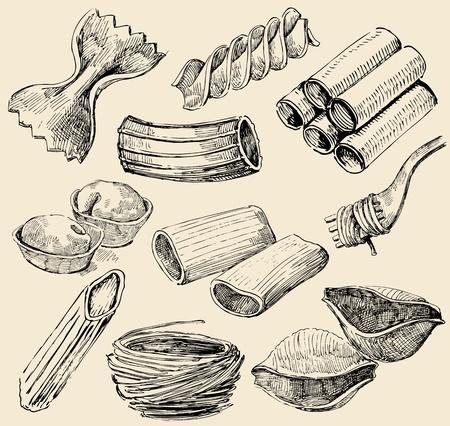 pasta shapes Иллюстрация
