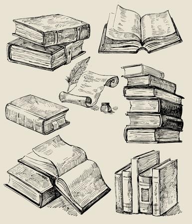 Bücherstapel gezeichnet  Alte Bücher Lizenzfreie Vektorgrafiken Kaufen: 123RF