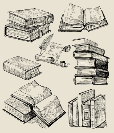 three objects: Books stack Illustration