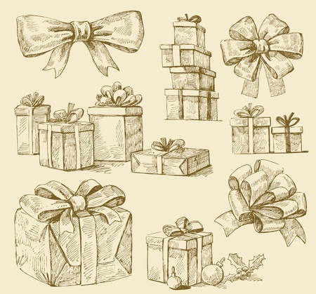 doodle art clipart: set of gift boxes