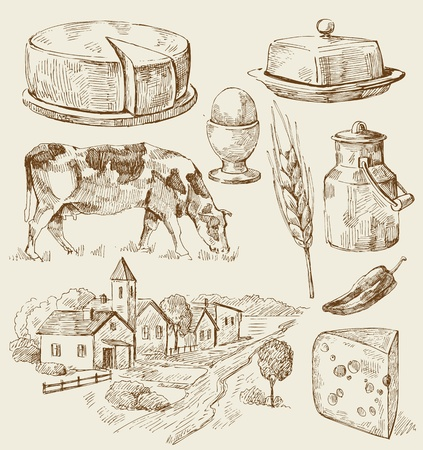 milk cheese: Village houses sketch with food