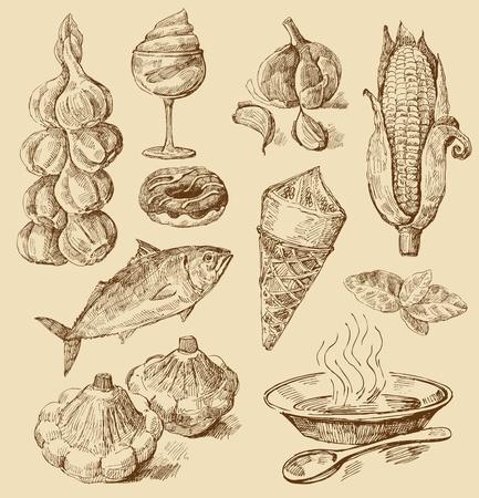 soup spoon: voedsel achtergrond Stock Illustratie