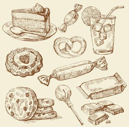 jam biscuits: Set di dolci disegnate a mano Vettoriali