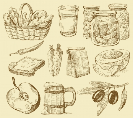 old kitchen: seamless pattern-hand drawn Illustration