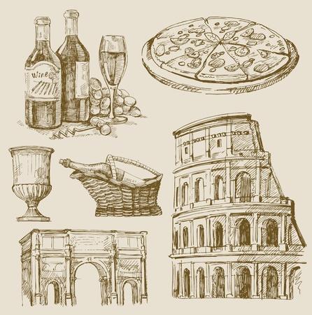 wijn en spijzen: de hand getekende italiaanse set