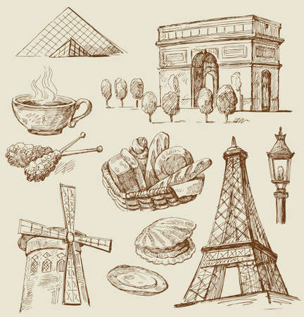 Paris - hand drawn collection Stock Vector - 13515365