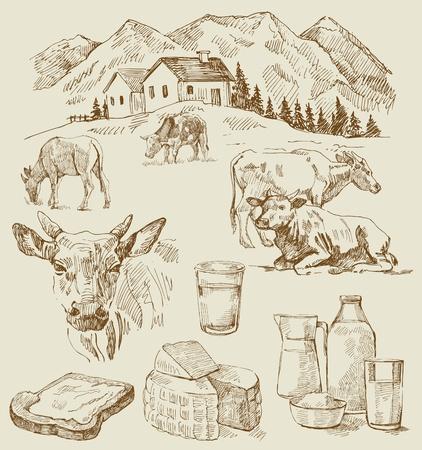 melker: boerderij - de hand getekende set