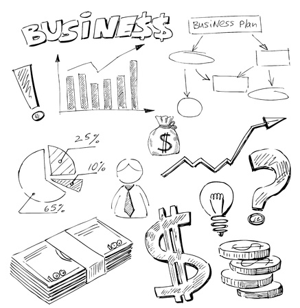hand drawn: business doodles Illustration