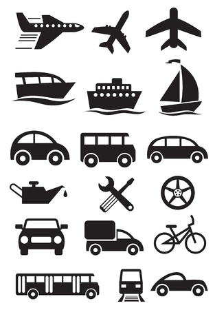 eisenbahn: Transport stilvolle Icons gesetzt Illustration