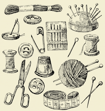 sewing: Vector sewing equipment Illustration