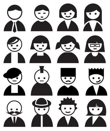 interface icons: Persone Faces Vettoriali