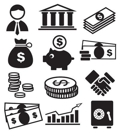 バンキング: 銀行のアイコン  イラスト・ベクター素材