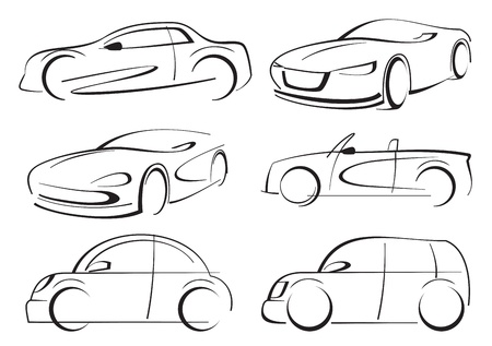 silueta coche: coches de vectores Vectores
