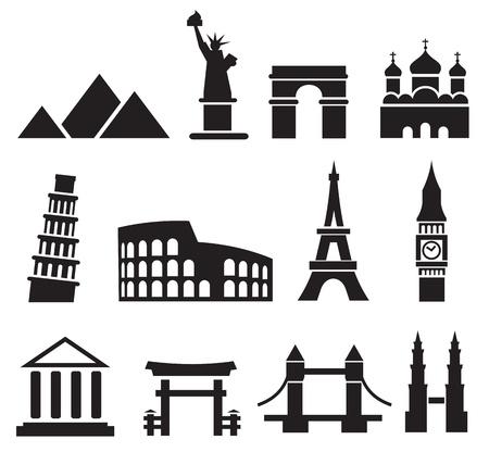 colosseum: Landmark icons Illustration